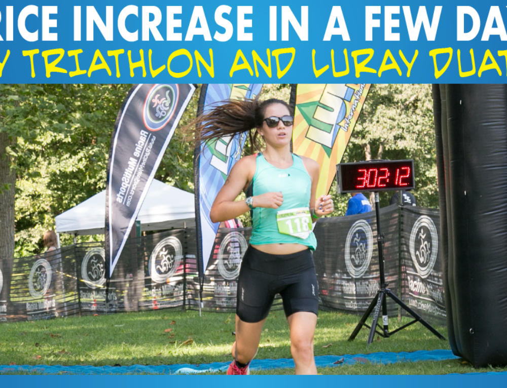 Price Increase in a Few Days for Luray Triathlon and Luray Duathlon